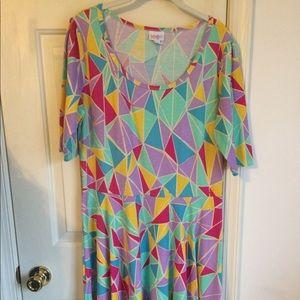 Lularoe Nicole geometric multi color xxl 2xl dress